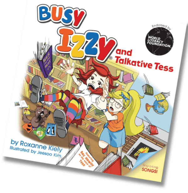 Busy Izzy and Talkative Tess by Roxanne Kiely book cover